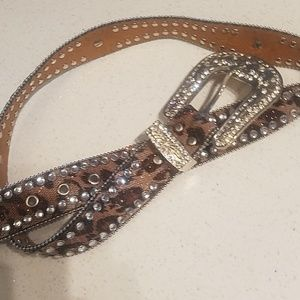 💖LEATHER GLITTER CHEETAH RHINESTONE BELT!!!